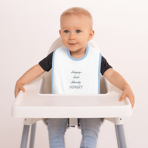 HUNGRY Embroidered Baby Bib