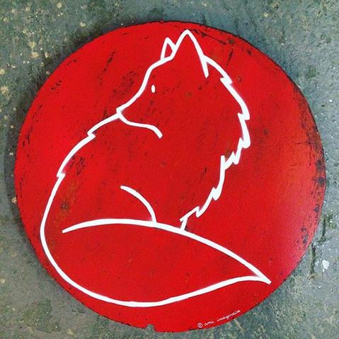 Red Fox , Aerosol sur mélaminé. Diam 30cm. VENDU/SOLD
