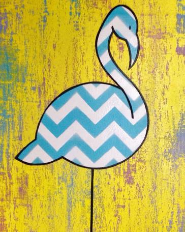 Flamingo chevrons jaune - VENDU/SOLD