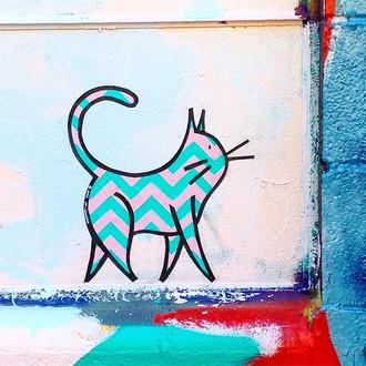 Aqua Pink Chevron Cat