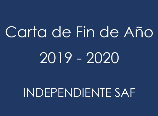Carta de Fin de Año Independiente 2019 - 2020