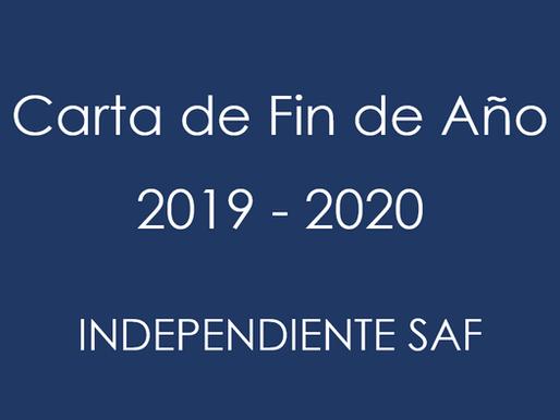 Carta de Fin de Año Independiente 2019 - 2020