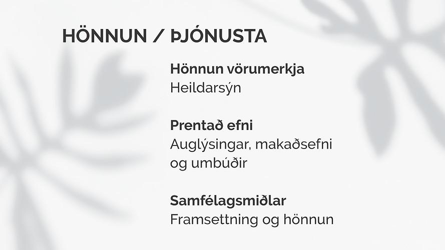 Hönnun / Þjónusta