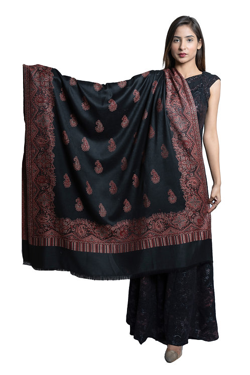 Women's Fine Wool, Paisely Designer Border with Jaal, Kashmiri Shawl