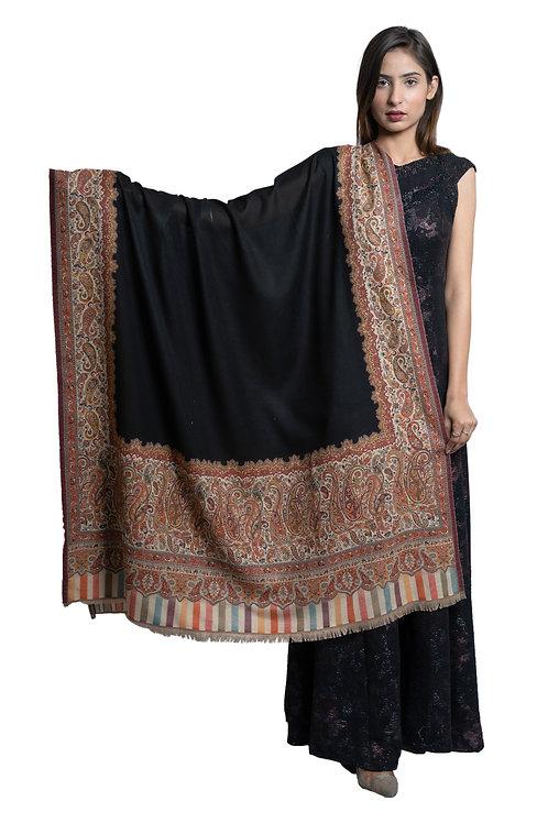 Women's Fine Wool, Kaani Heavy Palla with Border, Pashmina, soft & warm shawl