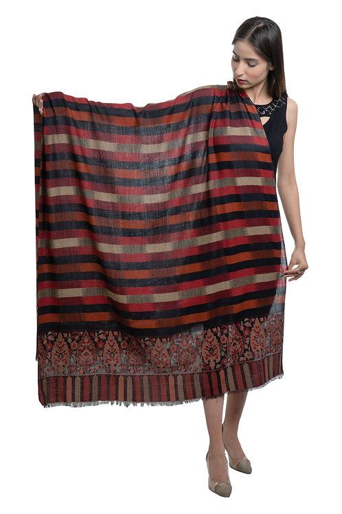women's Fine Wool, Kaani Palla with Designr stripes, Pashmina, Soft & Warm Shawl