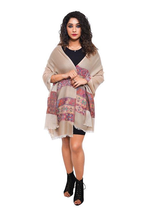 Women Fine Wool Foam Stole, Kullu Design Palla , Pashmina, Soft and Warm Stole