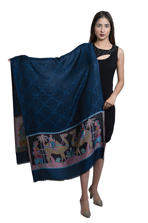 Women's Modal Silk, Desginer Camel Pattern, Self Embellished, Soft Stole