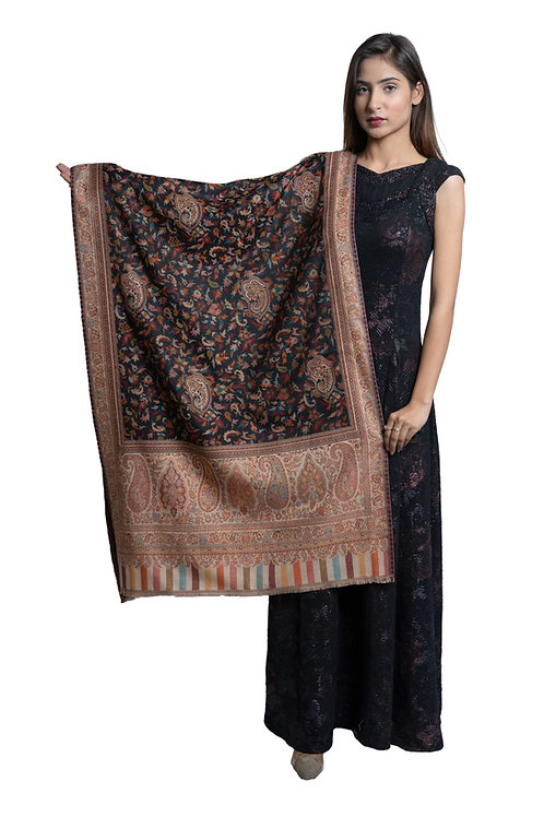 Women's Fine Wool Kaani Jaal, Floral Paisely, Kashmiri Stole