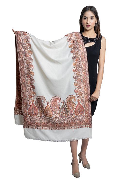 Women's Fine Wool, Paisley Palla with Designer Border, Woven Soft & warm stole