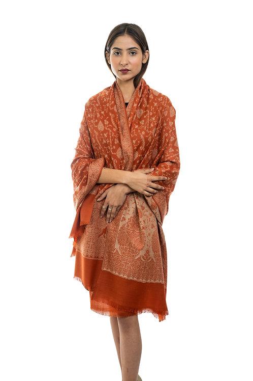 Women's Fine Wool Jamawar Jaal, Paisley Floral Pattern, Kashmiri Soft Shawl