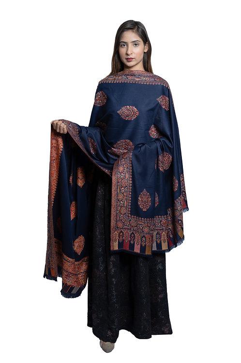 Women's Fine Wool, Kaani Palla with Designer Motifs  Soft Shawl