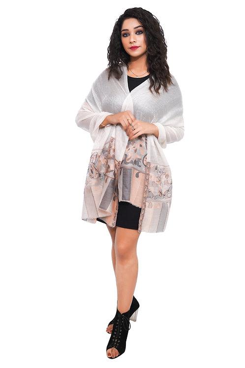 Women Fine Wool , Kaani Desgin Palla, Self Embellished, Pashmina, Warm Stole