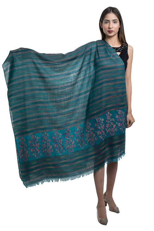 Women's Fine Wool Kaani Palla with Designer Stripes, Pashmina, Soft & Warm shawl