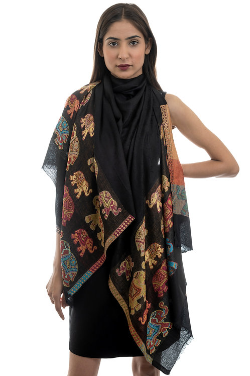 Women's Modal Silk, Elephant Motifs Border, Self embellished Stole