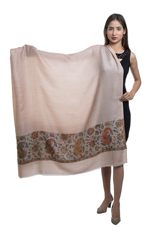 Women \'s Pashmina, Paisley Designer Contrast Palla, Supreme Fine Wool Shawl