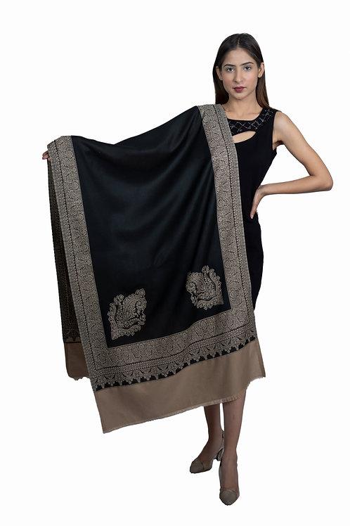 Women's Fine Wool, Designer Border with Kunj, Kashmiri Soft Woven Stole