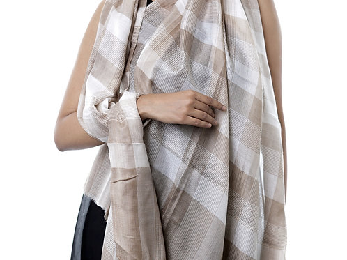 Unisex Fine Wool Pashmina, Tone on Tone Check Stripe Stole