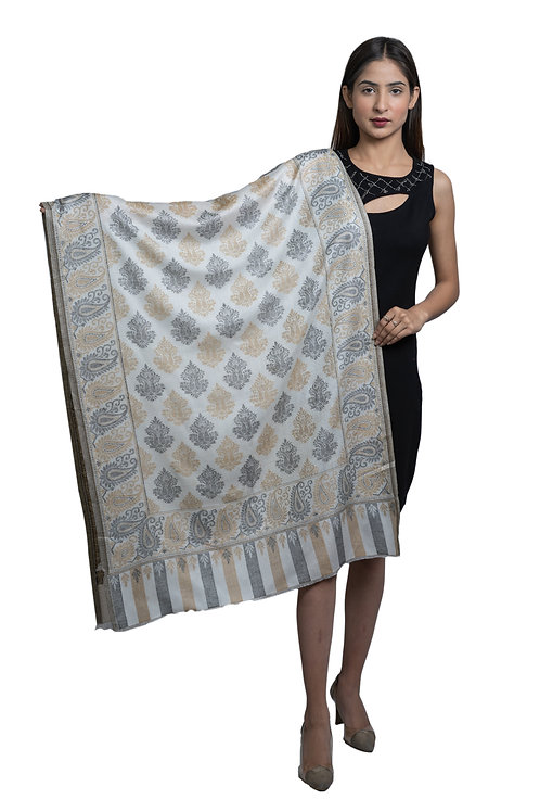 Women's Fine wool, Kaani Jaal , Paisley Design, Soft Stole / Shawl