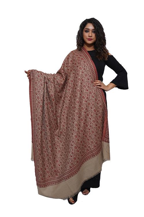 Women Fine Wool Jamdaani Kashmiri Shawl,  Shawl / Wrap