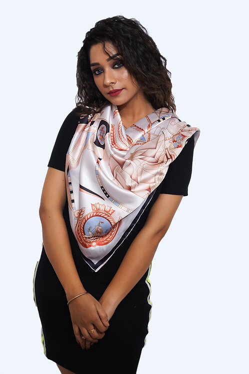 Silk satin Scarf, Printed Soft  Scarf
