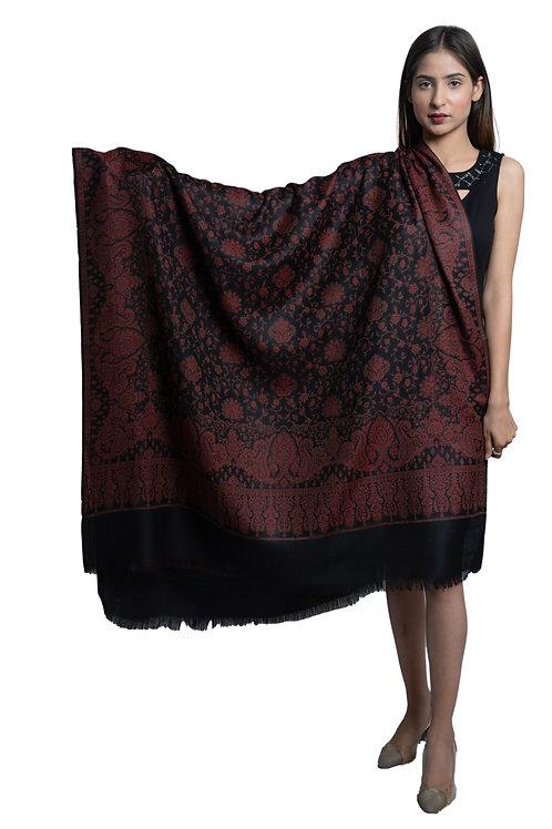 Women's Fine Wool Jamawar Jaal, Paisley Floral Pattern, Soft & Warm Shawl
