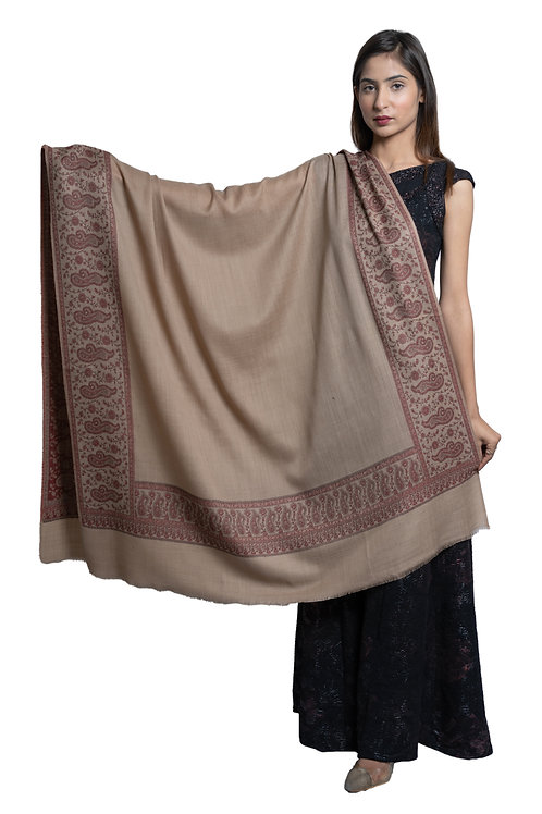 Women's Fine Wool Pashmina, Daur Cutting Paisley Border, Woven Soft & warm Shawl