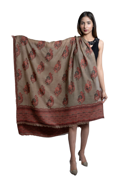 Women's Pashmina Carpet Kaani Cutting Jaal, Designer Floral Pattern, soft & warm