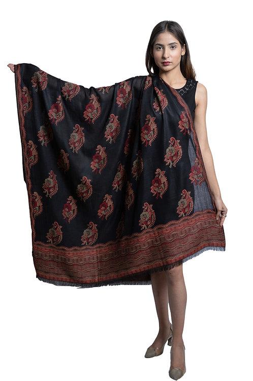 Women's Pashmina Carpet Kaani Cutting Jaal, Designer Floral Pattern, soft & warm