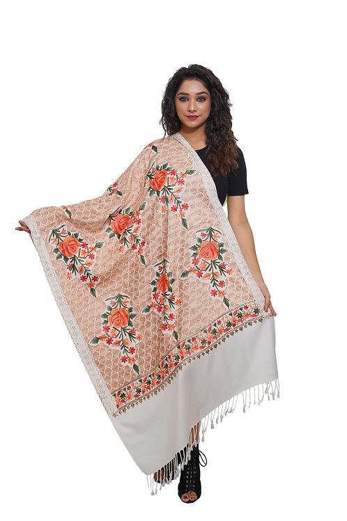 Women Fine Wool Aari Embroidered Jaal  Stole