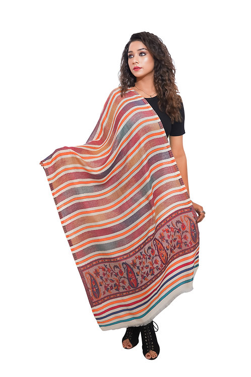 Women  Kaani  with all over Stripes Pattern , Pashmina, Soft and Warm Stole