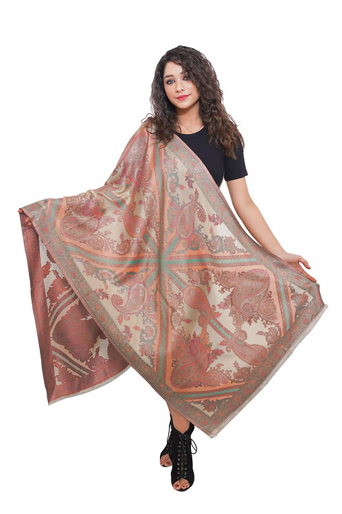 Women Fine Wool Silk , Antique Cutwork Paisely Pattern , Soft  Stole