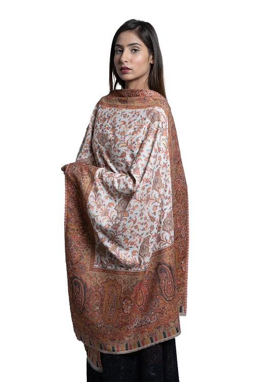 Women's Fine Wool Kaani Jaal Design, Floral Paisley, Kashmiri Stole
