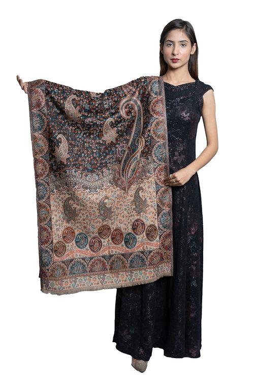 Women's Fine Wool Kaani Jaal, Floral Paisely , Kashmiri Stole