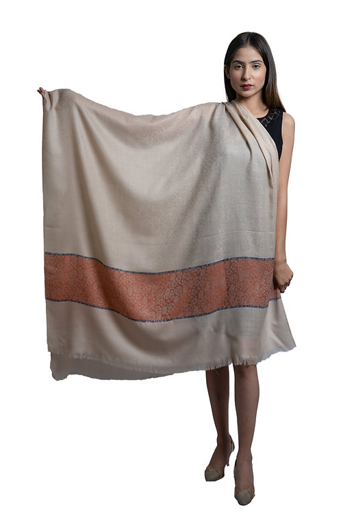 Women's Fine Wool, Designer Contrast Palla, Self Embellished, Pashmina Shawl