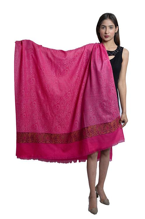 Women's Fine Wool, Designer Paisley Palla, Self Paisley Texture all over, shawl