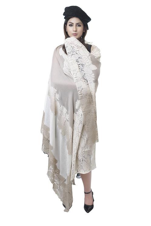 Women's Fine Wool ,Pashmina, Valentino Net Cutting Border Wrap