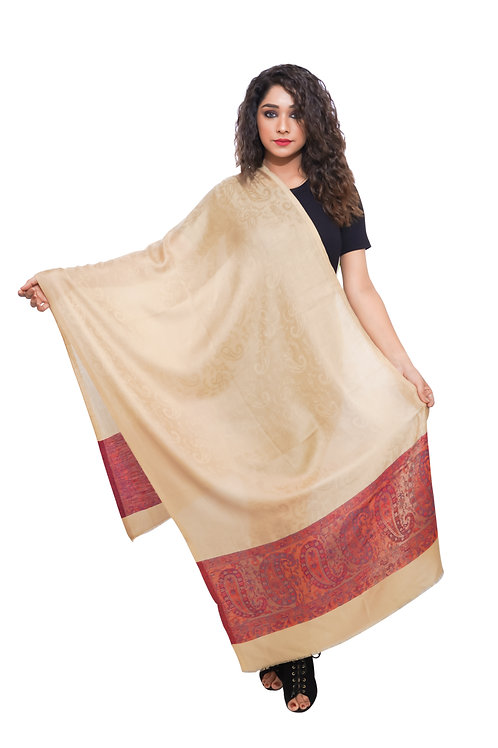 Women Fine Wool ,  Paisely Weave Palla with Self Embellished, Soft  Stole