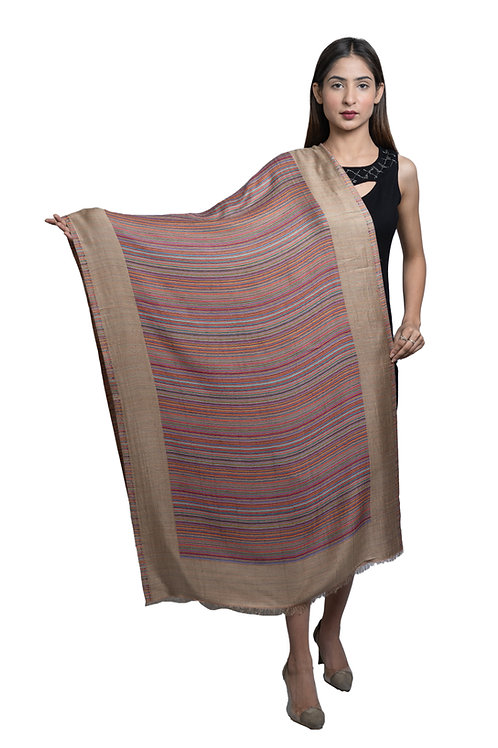 Women's Fine Wool Silk, Designer Stripes, Soft Woven Stole / shawl / Scarf