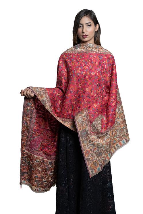 Women's Fine Wool Kaani Jaal, Floral Paisley, Kashmiri Stole