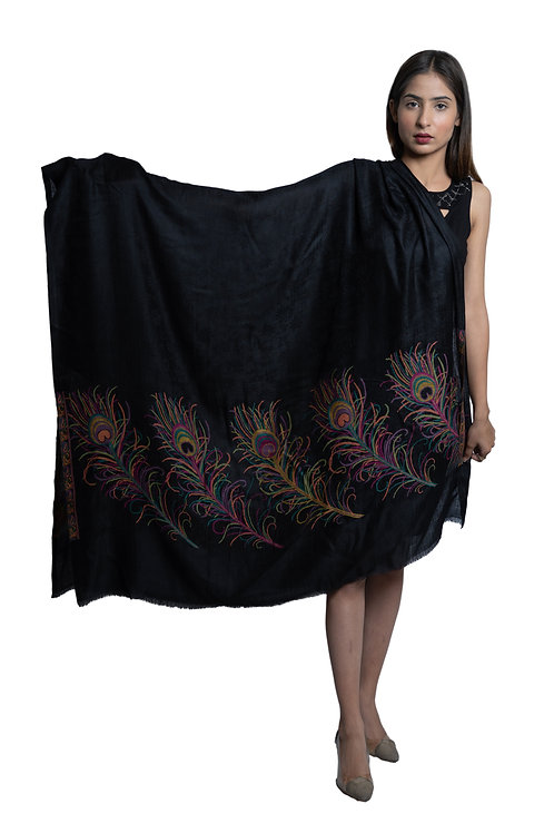 Women's Fine Wool, Peacock Feather Designer Palla, Pashmina,Soft & Warm Shawl