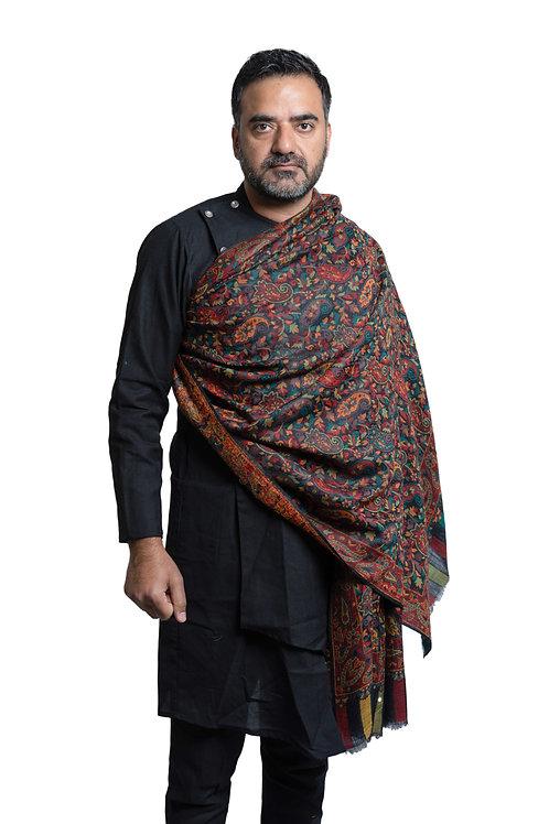 Men'sPashmina, Kaani Jaal, Floral Paisley Pattern, Supreme Wool Shawl