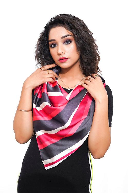 Silk satin Scarf, Bold Stripes Print, Soft ,  Scarf