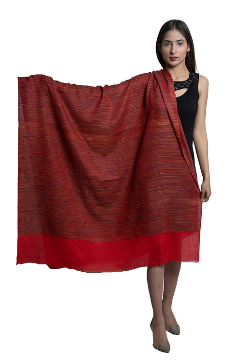 Women's Fine Wool, Khadi Stripes pattern, Pashmina, Soft & Warm Shawl