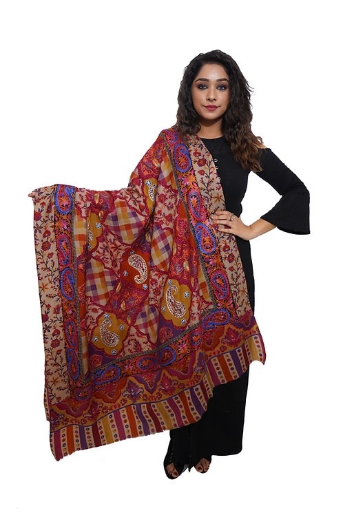 Women Kashmiri Hand Embroidered with Print, Pashmina, Luxury  Shawl
