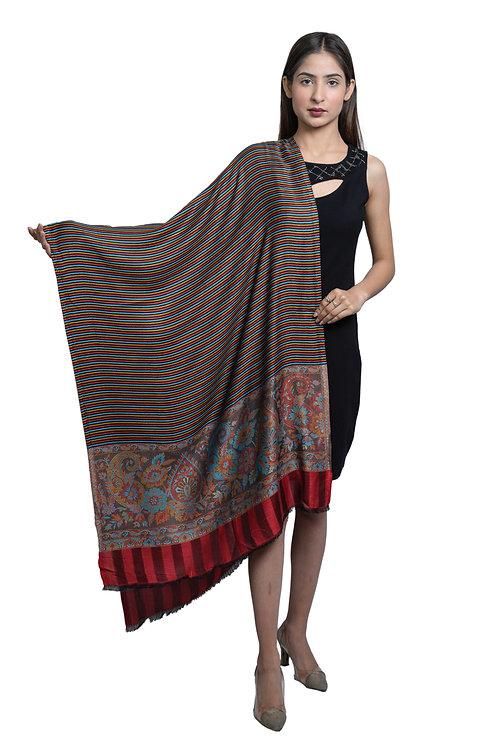 Women's Modal Silk, Paisley Pallawiht Multi Stripes, Designer Soft Woven Stole