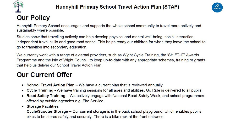 Hunnyhill Primary School Travel Action P