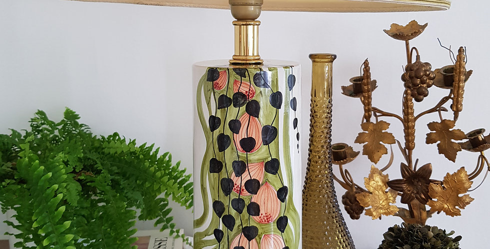 Large French Hand Painted Ceramic Lamp
