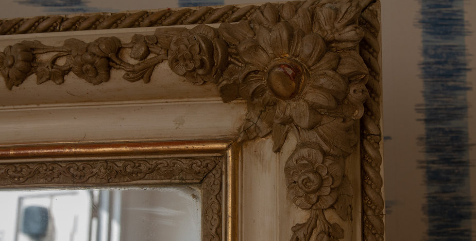 Large 19 Century French Empire Giltwood and Cream Mirror
