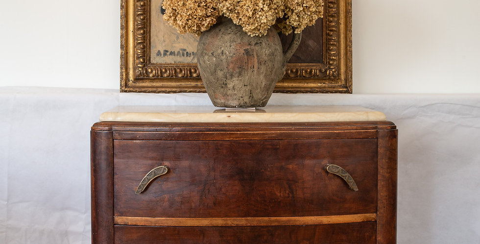 Antique French Mahogany Commode with Natural Onyx Top